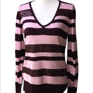 3/$25 NEW YORK & COMPANY SWEATER STRIPED SEQUINS